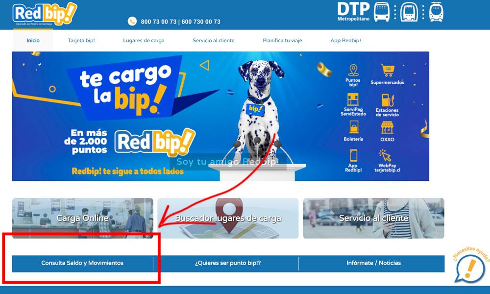 Consultar saldo tarjeta bip captura pantalla pagina web